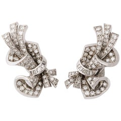 1950s Spray Design Baguette with Round Diamonds Platinum Clip-On Earrings
