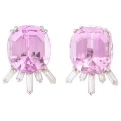 1960s Modified Oval Cut Pink Kunzite with Baguette Diamonds White Gold Earrings