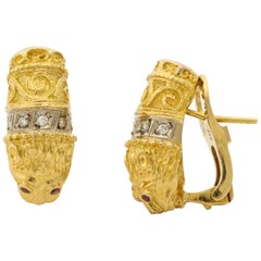 1980s Figural Lion Diamond and Ruby Textured Gold Clip-on Earrings with Posts