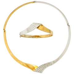 1980s Chic Diamond with White and Yellow Gold Bracelet/Necklace Combination Set