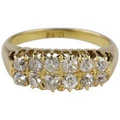 Glorious Unisex 1.20 Old Mine Cut Diamond Double Row Rare Ring