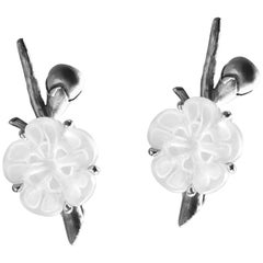 Sakura Contemporary Earrings by the Artist in Silver with Rock Crystal Flowers