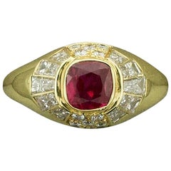"Modernistic Ruby and Diamond Ring in 18 Karat ""Terrell and Zimmelman"""