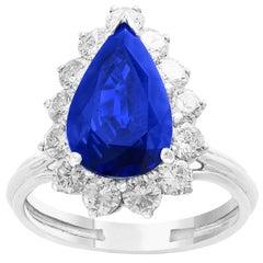 Certified 4.2 Carat Ceylon Blue Pear  Sapphire & Diamond Cocktail Ring Platinum