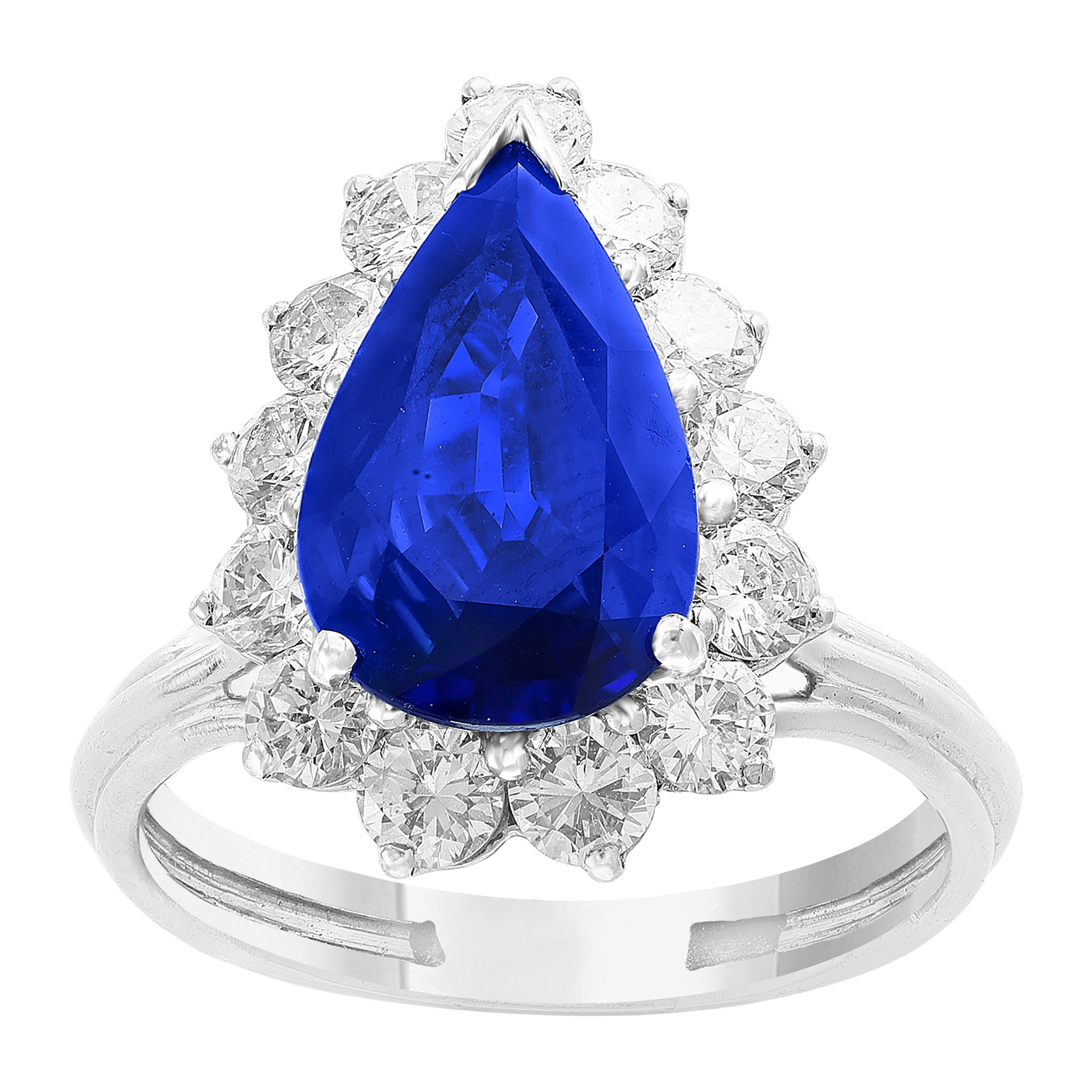 GIA Certified 4.2 Carat Ceylon Blue Pear Sapphire & Diamond Ring Platinum