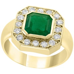 AGL Certified 2.25 Carat Emerald Cut Colombian Emerald Diamond 18 Karat Men Ring