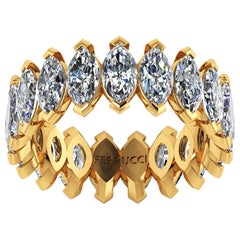 4.70 Carat White Marquise Diamonds Eternity Band 18 Karat Yellow Gold