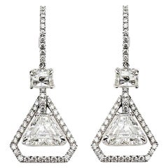 Trillion Cut Diamond Drop Earrings 3.07 Carat