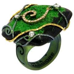 Orsa Maggiore Diamonds 18 Karat Gold Titanium Uvarovite Garnet Rings