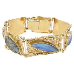 Designer Vicki Thaler 14 Karat Yellow Gold Large Heavy Black Opal Wide Bracelet