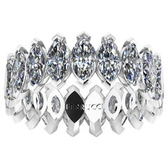 4.70 Carat White Marquise Diamonds Eternity Band Platinum 950