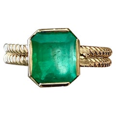 2.4 Carat Vintage Natural Emerald Solitaire Ring 14 Karat