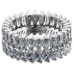 3.55 Carat White Marquise and Pear Shape Diamonds Eternity Band Platinum 950