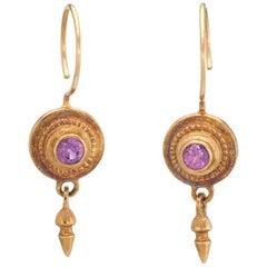 Vintage Pink Tourmaline Drop Earrings Etruscan Style 18 Karat Yellow Gold Estate