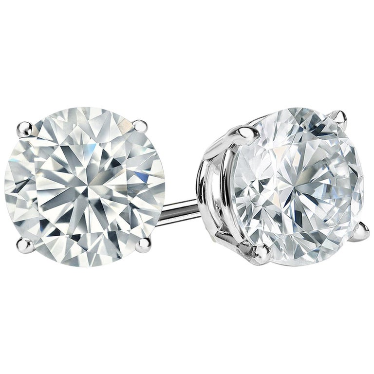 1 Carat Round Brilliant Cut Diamond Stud Earrings 18 Karat White Gold Setting For Sale