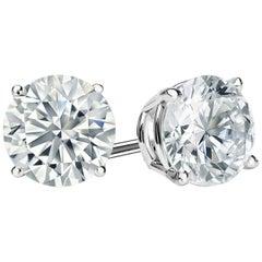 3.00 Carat Round Brilliant Cut Diamond Stud Earrings 18 Karat White Gold Setting
