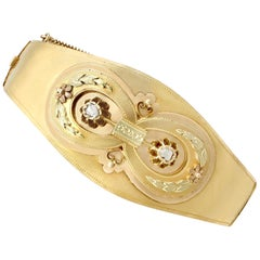 Antique Austrian Diamond and Yellow Gold Bangle Circa 1880
