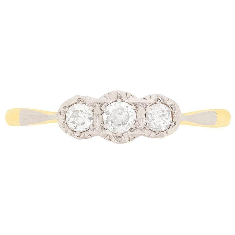 0.25 Carat Three-Stone Old Cut Diamond Engagement Ring, circa 1920s