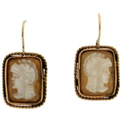 Cameo 14 Karat Yellow Gold Drop Earrings
