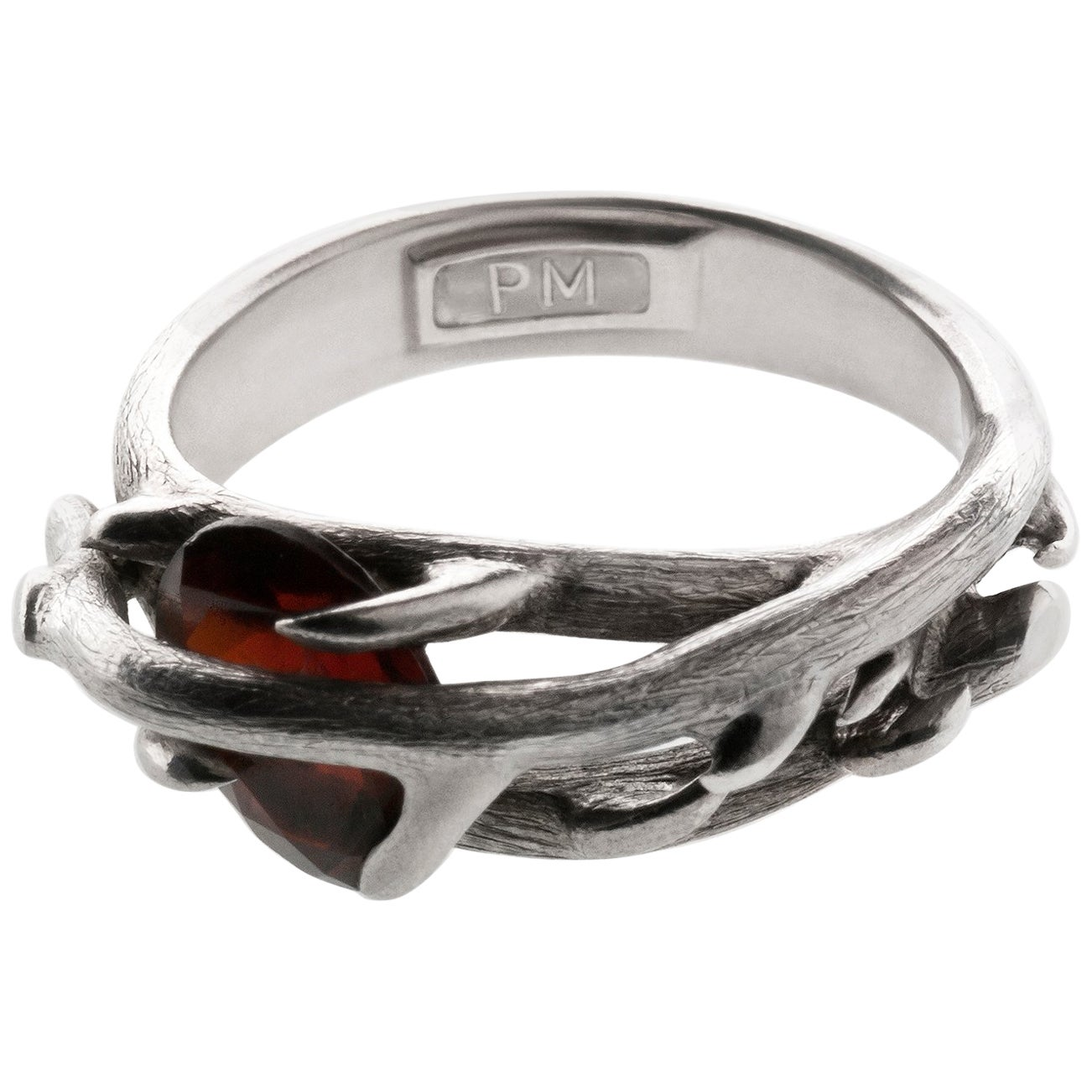 Contemporary Wild Rose Sterling Silver Ring by the Artist with Garnet