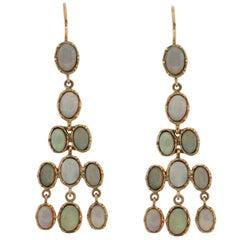 Australian Opal 9 Karat Yellow Gold Drop Earrings