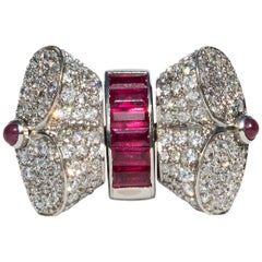 1940s Swiveling Diamond and Ruby Platinum Ring