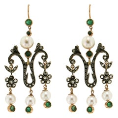 Pearls, 14 Karat Yellow Gold, Diamonds and Emeralds, Drop Earrings