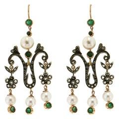 Pearls 14 Karat Yellow Gold Diamonds and Emeralds Drop Earrings