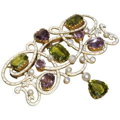 Edwardian Enamel, Peridot, Pearl and Amethyst 18 Carat Gold Suffragette Brooch