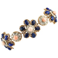 Pink Coral Secundum, Diamonds, Lapis, Rose Gold Flowery Bracelet
