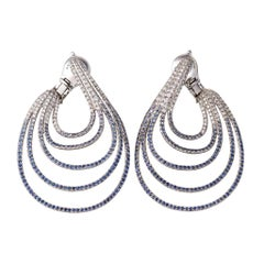 Palladium Blue Sapphires White Diamonds Earrings Aenea Jewellery