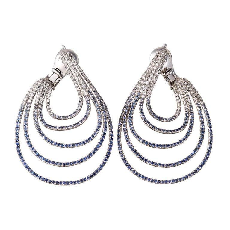 Palladium Blue Sapphires White Diamonds Earrings Aenea Jewellery For Sale