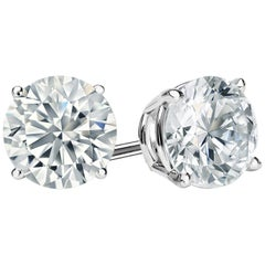 7.00 Carat Round Brilliant Cut Diamond Stud Earrings 18 Karat White Gold Setting