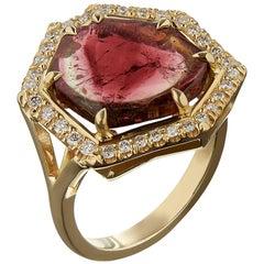 18 Carat Yellow Gold, Diamond and Watermelon Tourmaline Slice Cocktail Ring