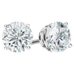 10 Carat Round Brilliant Cut Diamond Stud Earrings 18 Karat White Gold Setting
