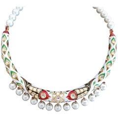 Manjrie Enamel Uncut Diamond Pearl 22 Karat Gold Necklace