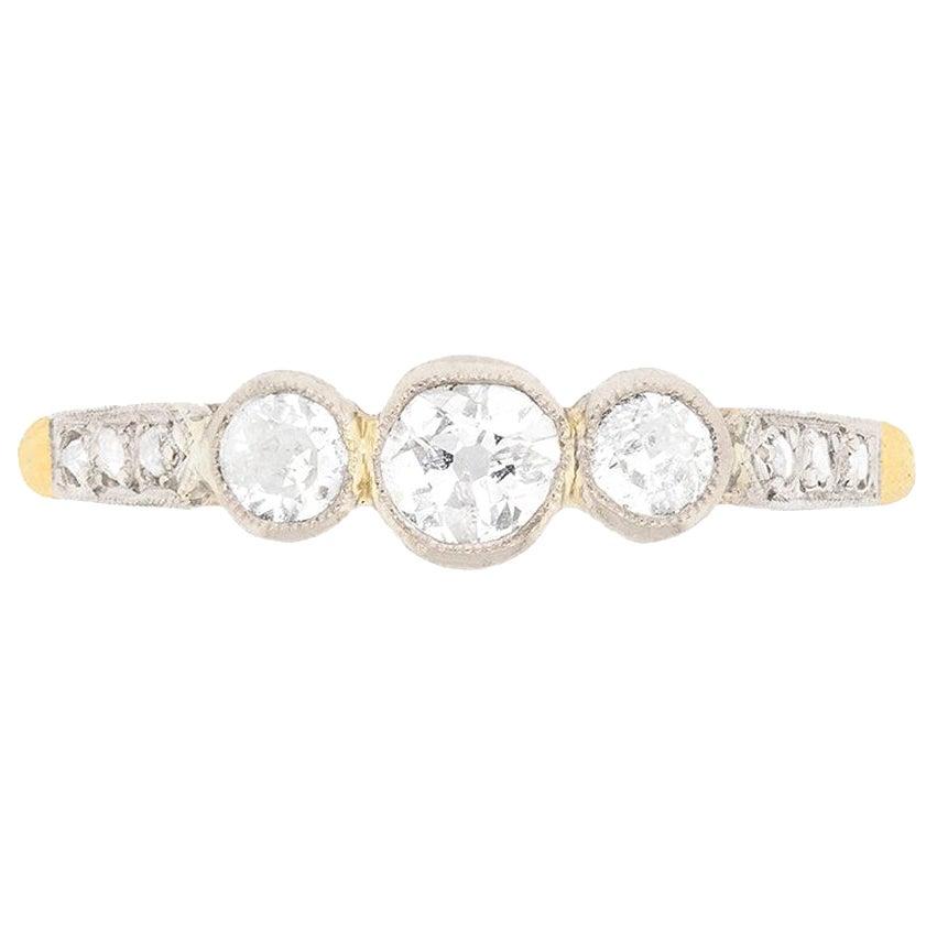 Late Victorian Three-Stone Old Cut Diamond Ring, circa 1900s