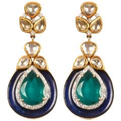 Manjrie Pearl Diamond Blue Enamel 18K Gold Artisan Dangle Earrings