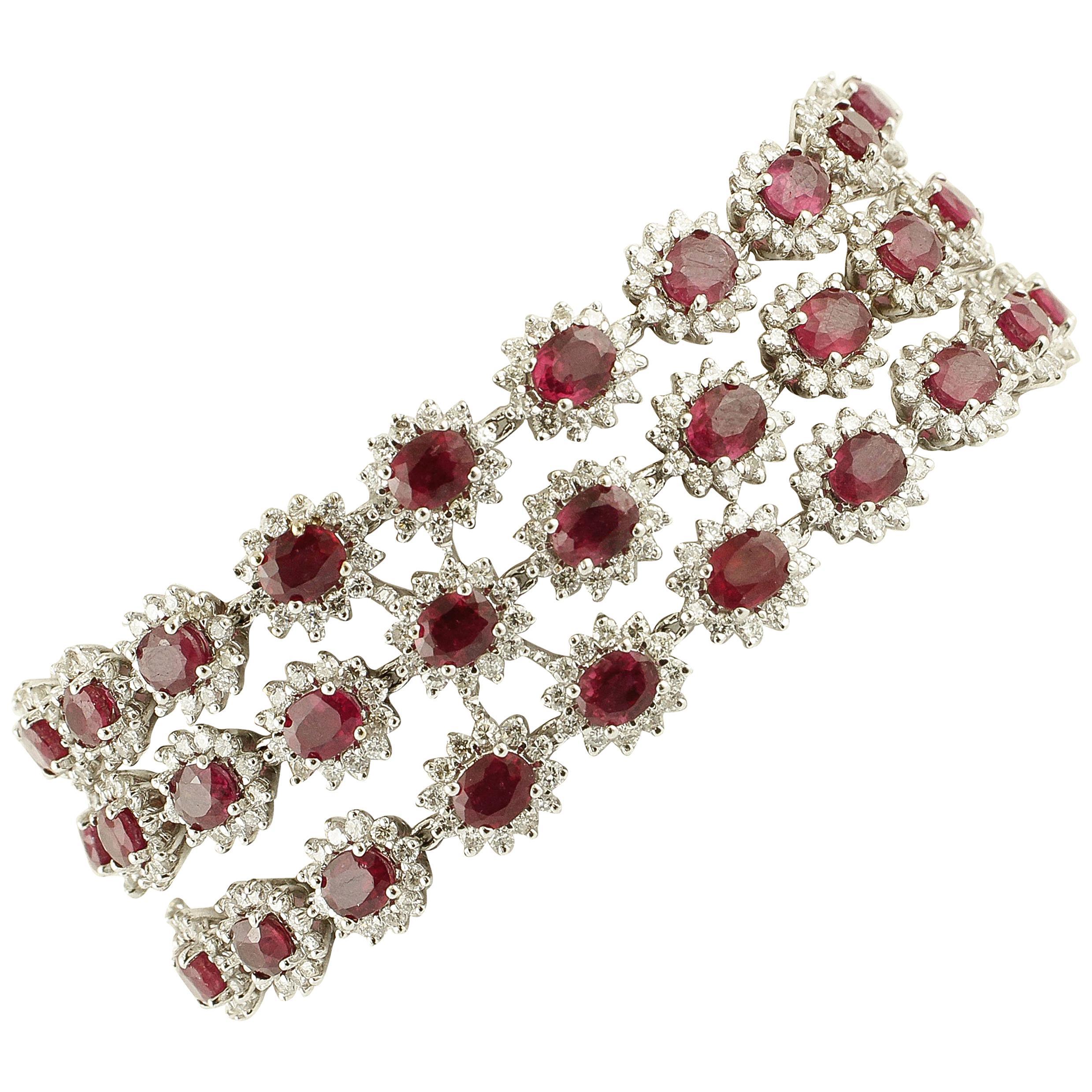 Diamonds, Rubies, White Gold Fabulous Link Bracelet