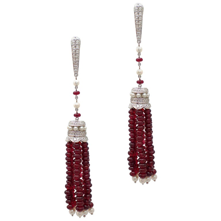 Ruby Bead, Diamond, and Pearl Tassel Earrings in 18 Karat White Gold For Sale