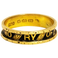 Mid-19th Century 18 Carat Gold and Enamel in Memory Band
