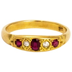 Edwardian Ruby and Diamond 18 Carat Gold Ring