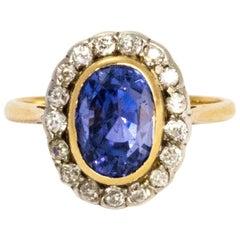Edwardian Sapphire and Diamond 18 Carat Gold Ring