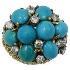 Turquoise 1.5 Carat Diamond 14 Karat Gold Cocktail Ring Mid-Century Modern Bombe