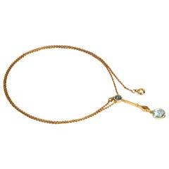 Edwardian Aqua and 9 Carat Gold Necklace