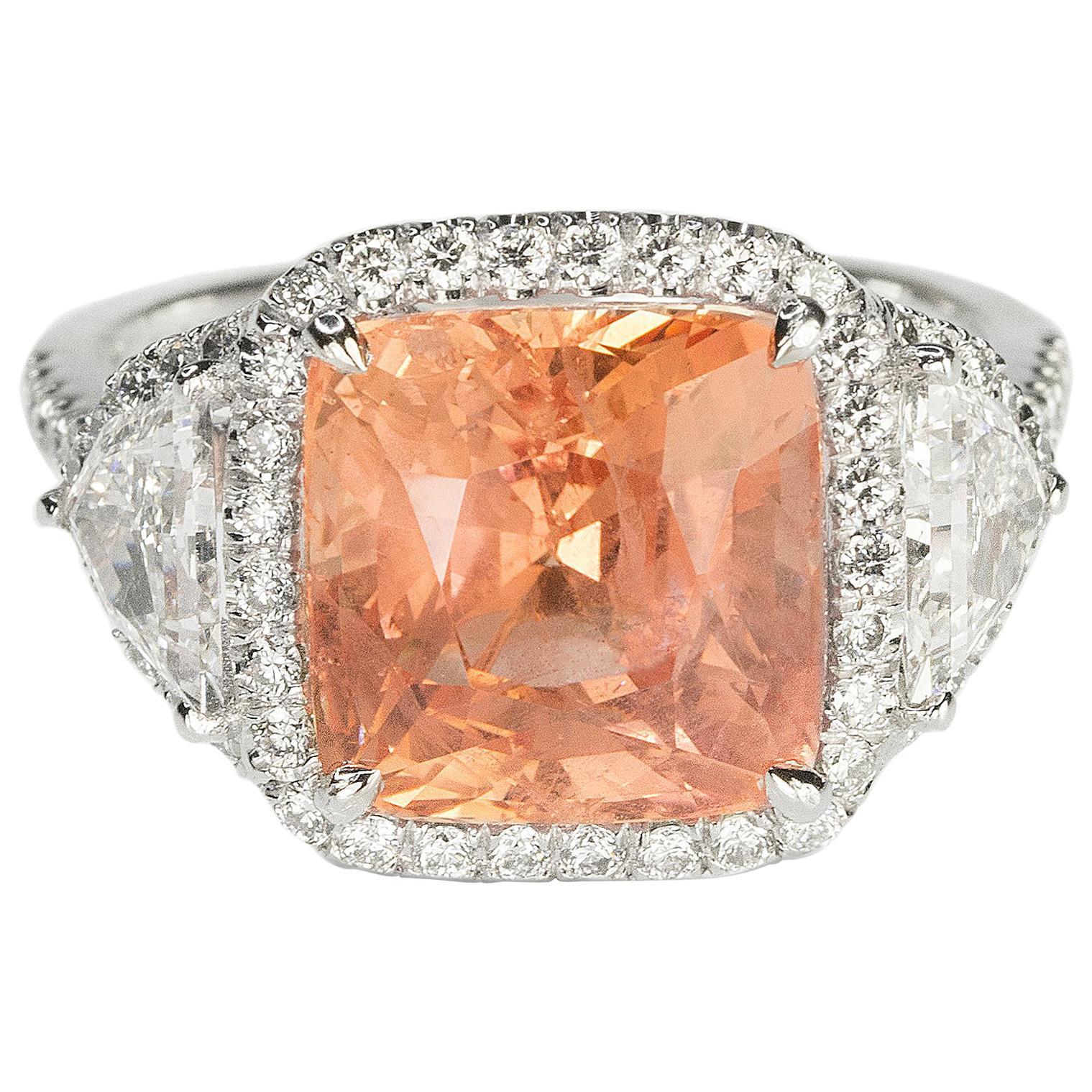 Platinum Ring No Heat Ceylon Padparadscha Sapphire