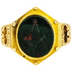 Mid-Victorian Bloodstone 15 Carat Gold Masonic Ring