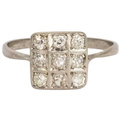 Edwardian Diamond Platinum Panel Ring
