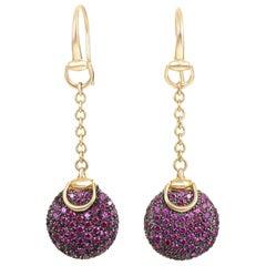 7ed2d361cac Gucci Ruby Gold Horsebit Drop Earrings