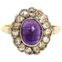 Vintage Amethyst Cabochon and Diamond 18 Carat Gold Ring